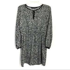 Zara leopard print black cream sheath dress